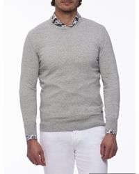Cavallaro Napoli Men Pullover - Tomasso R-neck Pullover in het Gray voor heren