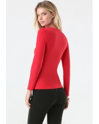 Bebe - Red Keyhole Top - Lyst