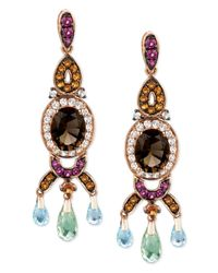 Le Vian Pink Smokey Quartz And Multistone Oval Drop Earrings (7-3/4 Ct. T.W.) In 14K Rose Gold