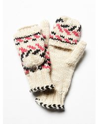 Free People White Womens Forester Fairisle Flip Glove