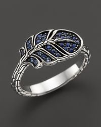 John Hardy | Classic Chain Silver Lava Slim Feather Ring With Mixed Blue Sapphire - Bloomingdale's Exclusive | Lyst