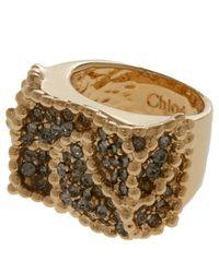 Chloé - Metallic Gold-Tone Eleanor Swarovski Crystal Ring - Lyst