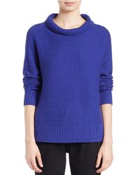 Eileen Fisher | Blue Cotton-cashmere Sweater | Lyst