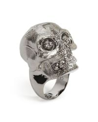Alexander McQueen | Metallic Diamante Skull Ring for Men | Lyst
