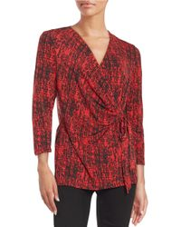 Anne Klein | Red Wrap Front Blouse | Lyst