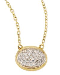 Jude Frances - Metallic Oval Pave Diamond Pendant Necklace - Lyst