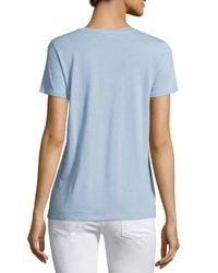 Vince - Blue V-neck Short-sleeve Tee - Lyst