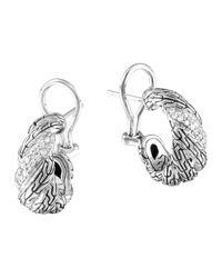 John Hardy - Metallic Carved Chain Diamond Buddha Belly Earrings - Lyst