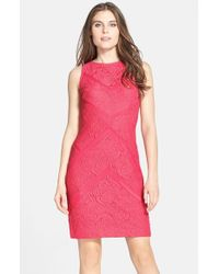 Julia Jordan - Pink Lace Sleeveless Sheath Dress - Lyst