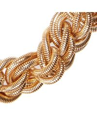 River Island - Metallic Gold Tone Oversized Plaited Necklace - Lyst