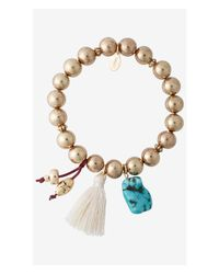 Express - Metallic Turquoise Charm And Shiny Prayer Bead Bracelet - Lyst