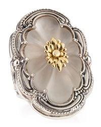 Konstantino - Metallic Long Rock Crystal Flower Ring - Lyst