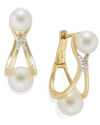 Macy's | Metallic 14K Gold Earrings, Cultured Freshwater Pearl (5Mm - 7Mm) And Diamond Accent Earrings | Lyst