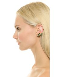Ben-Amun Green Crystal Marquis Earrings - Gold/Emerald