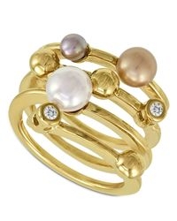 Majorica | White 18k Gold Over Sterling Silver Multicolor Organic Man Made Pearl Ring | Lyst