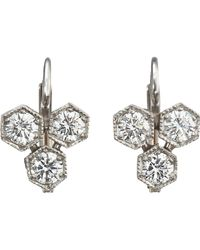 Cathy Waterman | White Hexagonal Earrings Size Os | Lyst