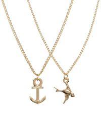 ASOS | Metallic Best Friends Anchor Swallow Necklaces | Lyst