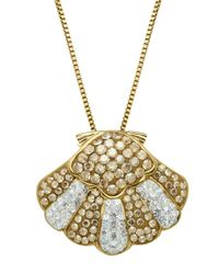 Lord & Taylor | Metallic Sterling Silver And Crystal Shell Pendant | Lyst