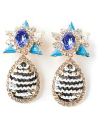 Shourouk | Blue 'galaxy' Clip-on Earrings | Lyst