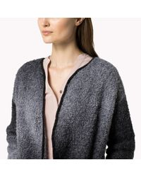 Tommy Hilfiger Gray Wool Boucle Coat