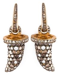 Monan - Metallic Diamond Tusk Shaped Earrings - Lyst