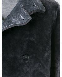Giorgio Armani Gray Fur Double Breasted Coat for men