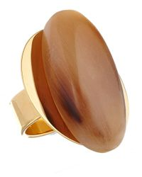 Marni | Metallic Taupe Oval Horn Ring | Lyst