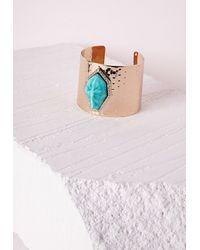 Missguided | Blue Semi-precious Stone Detail Cuff Gold | Lyst