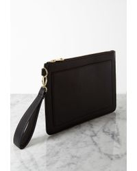 Forever 21 - Black Structured Faux Leather Clutch - Lyst
