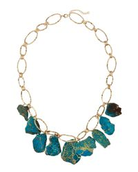 Panacea | Blue Hammered Golden Statement Necklace | Lyst