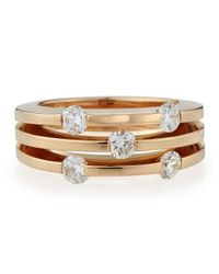 Roberto Coin | Pink 18k Rose Gold Threerow Diamond Ring Size 65 | Lyst