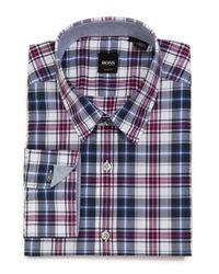 BOSS Blue Lukas Checked Cotton Shirt for men