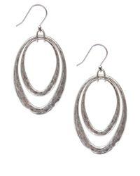 Lucky Brand - Metallic Silver-Tone Orbital Hoop Earrings - Lyst