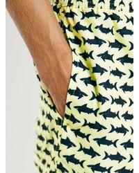 TOPMAN - Yellow Lemon Shark Print Swim Shorts for Men - Lyst