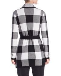 Lord & Taylor Black Check Sweater Robe