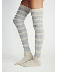 Free People - Blue Womens Hideaway Striped Otk Sock - Lyst