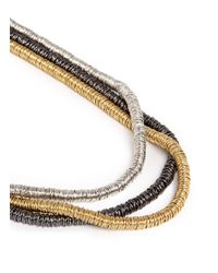 Kenneth Jay Lane - Metallic Three Tier Strand Necklace - Lyst