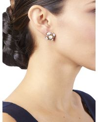 Oscar de la Renta White Crystal Button Earrings