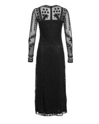 Miss Selfridge Black Embroidered Mesh Gown