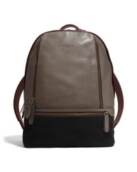 COACH - Gray Bleecker Traveler Backpack in Mixed Leather for Men - Lyst