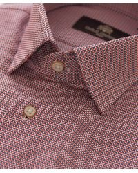 Circle Of Gentlemen Red Regular Fit Geometric Rule Shirt for men