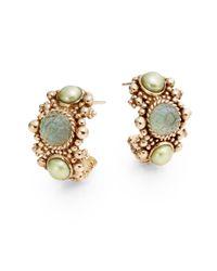 """Stephen Dweck - Metallic 4Mm Green Pearl, Crystal & Bronze Hoop Earrings/0.5"""" - Lyst"""
