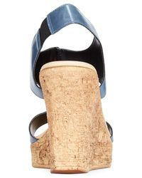 Callisto - Blue Teane Platform Wedge Sandals - Lyst