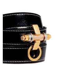 Givenchy - Black 'obsedia' Triple Wrap Coated Leather Bracelet - Lyst