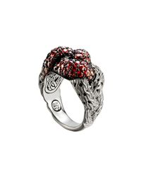 John Hardy | Metallic Classic Chain Silver Lava Large Braided Ring With Red Sapphire | Lyst