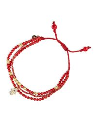 Tai | 3-Strand Red Beaded Bracelet With Hamsa Charm | Lyst