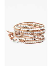 Chan Luu - Metallic Beaded Leather Wrap Bracelet - Lyst