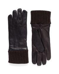 Merola Gloves Brown Cashmere Knit Cuff Leather Gloves