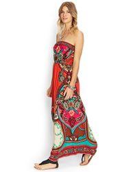 Forever 21 - Orange Ornate Baroque Maxi Dress - Lyst