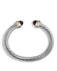 David Yurman Metallic Cable Classics Bracelet With Black Onyx And Gold